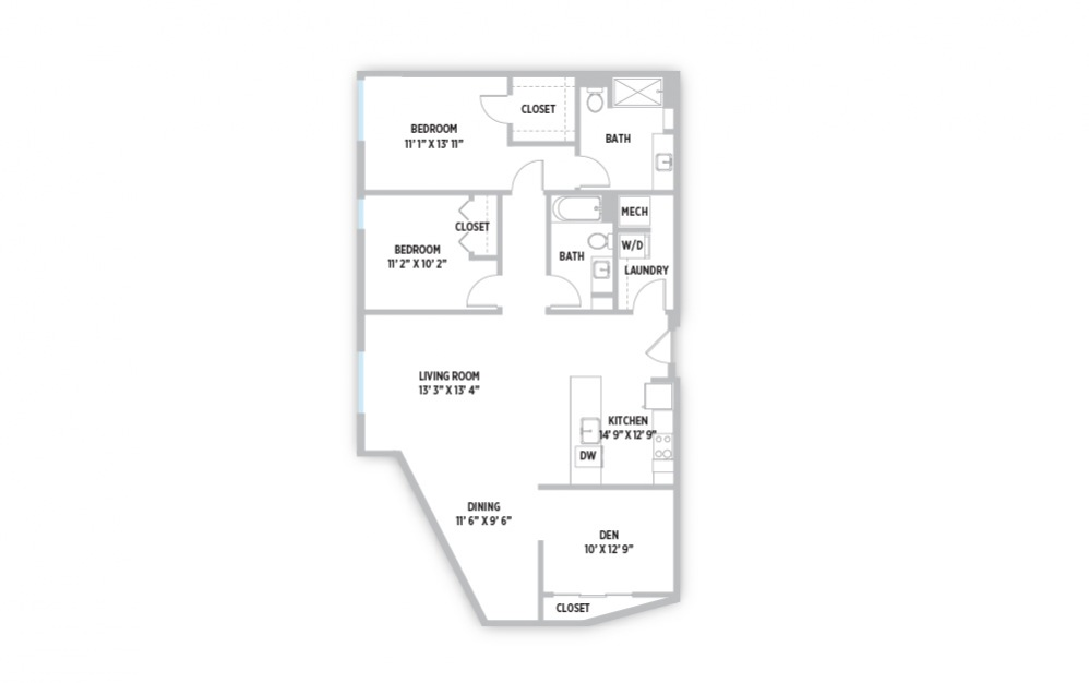 Piet 2 bedroom 2 bath with den apartment floor plan