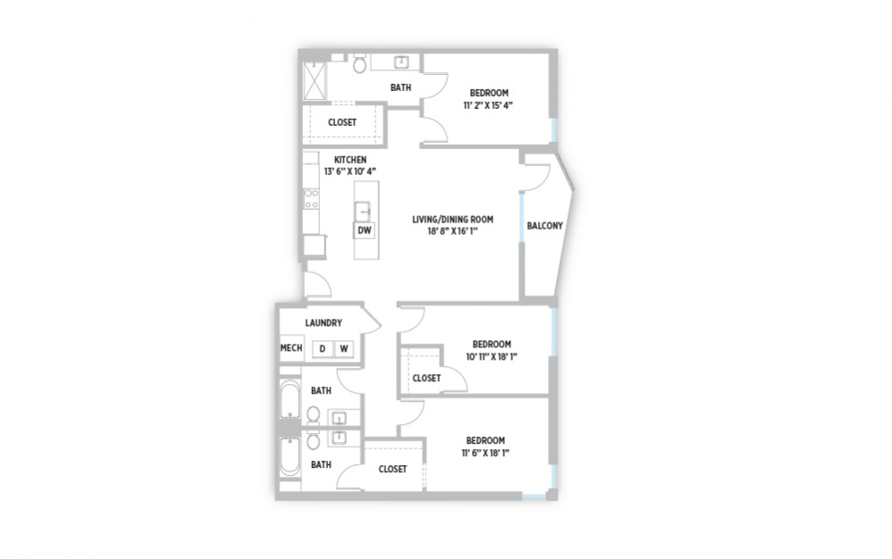 Vincent - 3 bedroom 3 bath apartment floor plan